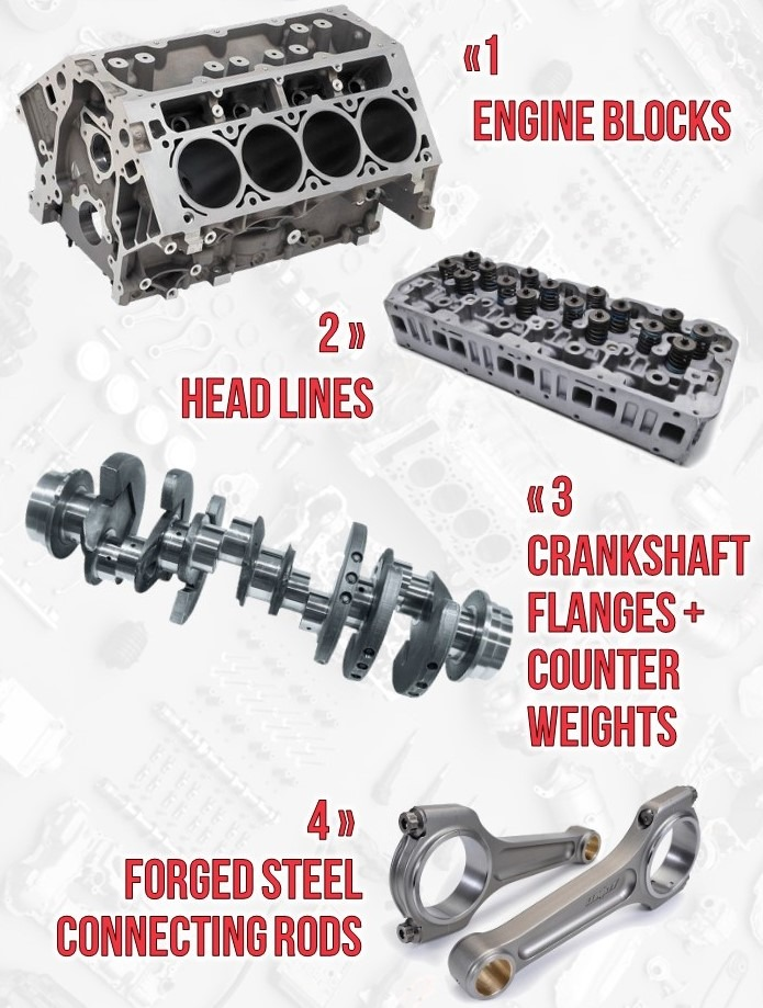 Engine applications blocks headlines crankshaft connecting rods taps tapping