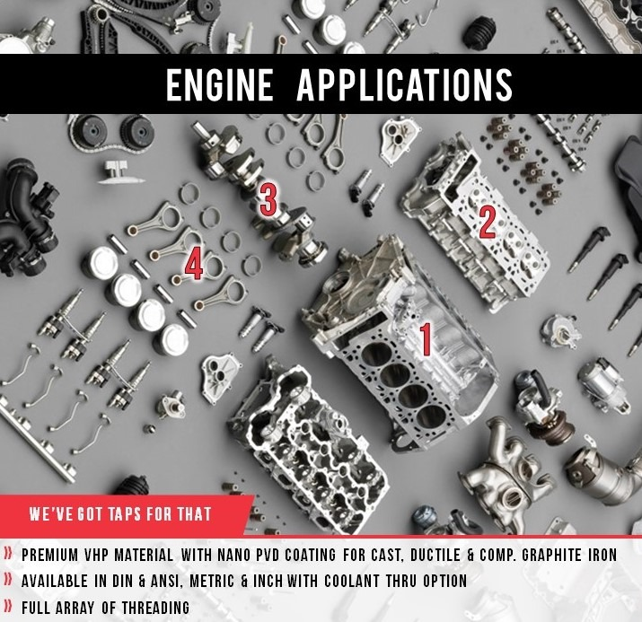 Engine applications cutting tools taps tapping special tool design