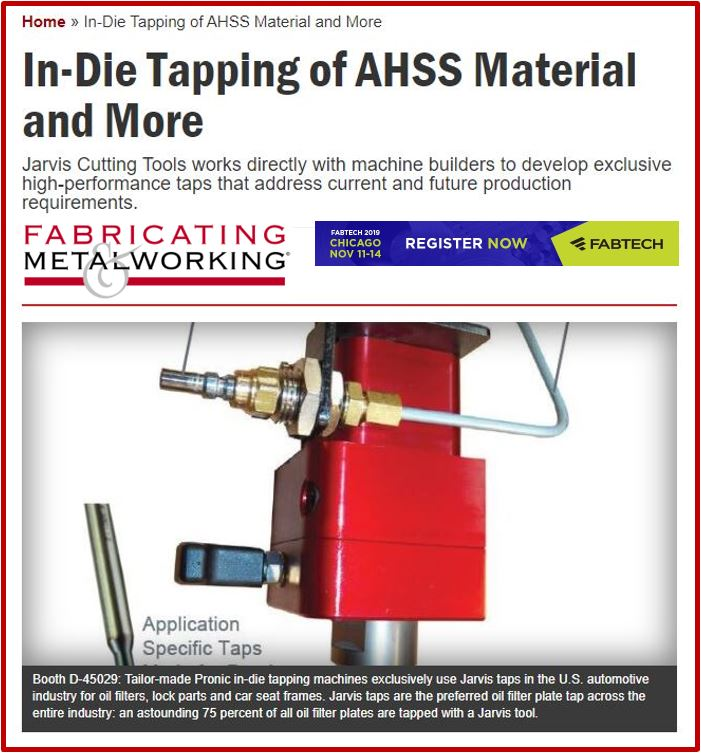 In-Die Tapping of AHSS Material and More